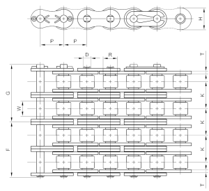 Measure Quad Strand Roller Chain Size Chart