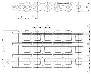 Triple Strand Roller Chain Size Chart