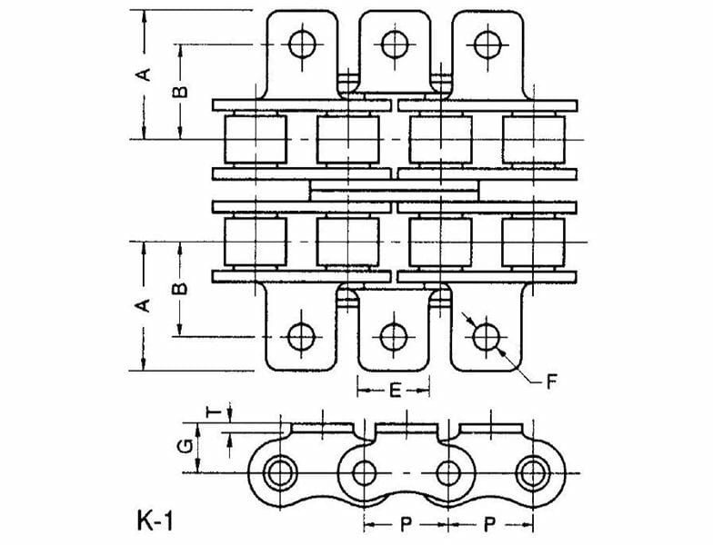 ANSI Standard Double-Strand Roller Chain - K-1 Attachment